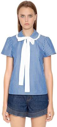 RED Valentino Bow Collar Striped Cotton Poplin Blouse