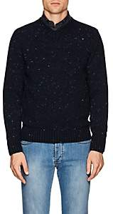 Inis Meain Men's Donegal-Effect Wool-Cashmere Sweater - Navy