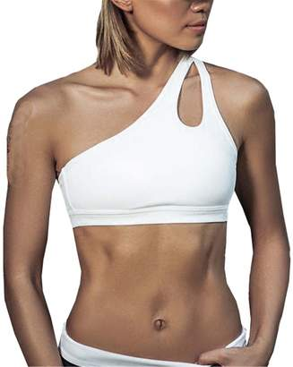 RONGE-sport NEW Sexy One Shoulder Solid Sports Bra Women Fitness Yoga Bras Gym Padded Sport Top Athletic Underwear Workout Running Clothing XL