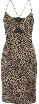 Michelle Mason Cutout Leopard-Print Crepe Dress