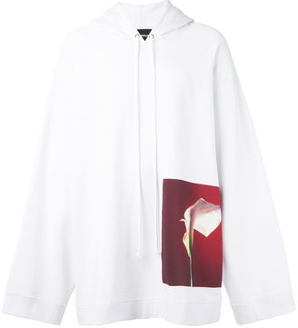 Raf Simons orchid print hoodie $459.14 thestylecure.com