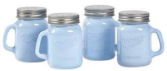 Mason Craft & More Mason Craft and More 4 Ounce Round Glass Salt and Pepper with Handle and Silver Metal Lid, Opaque Blue, Set of 4