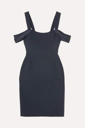 Halston Cold-shoulder Satin-trimmed Crepe Mini Dress - Navy