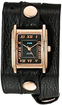 La Mer Women's LMSTW5003 Black Rose Gold Simple Wrap Watch