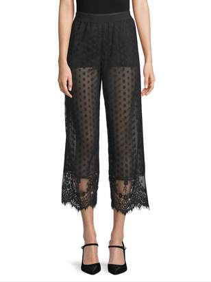 Anna Sui Women's Dot Mesh Cropped Trousers