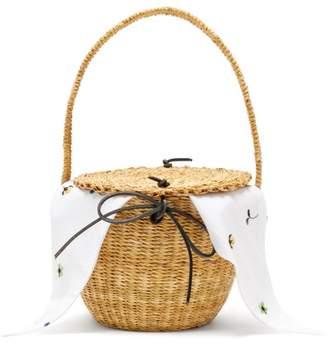 Muuñ - Lou Myoso Woven Straw Bucket Bag - Womens - White