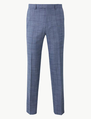 Marks and Spencer Blue Checked Tailored Fit Trousers