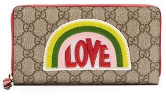 Gucci Love Applique Gg Supreme Wallet - Womens - Multi