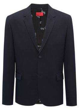 HUGO Boss Slim-fit blazer in yarn-dyed seersucker 34R Dark Blue