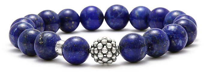 Lagos Caviar Ball Beaded Lapis Bracelet, 10mm