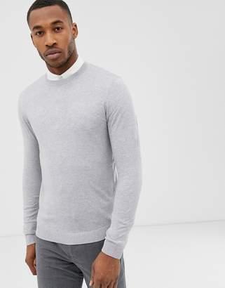 Asos DESIGN cotton sweater in light gray