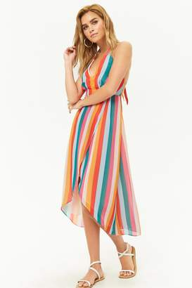 Forever 21 Striped Chiffon Halter High-Low Dress