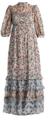 Erdem Tricia Keiko Disty Print Silk Voile Gown - Womens - Blue Print