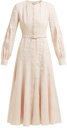 Gabriela Hearst Gertrude Aloe Vera Infused Linen Midi Dress - Womens - Light Pink