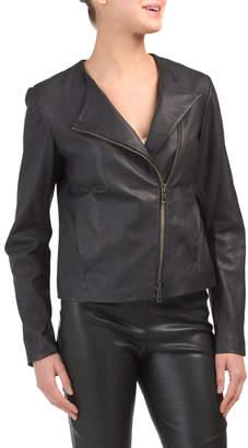 Asymmetric Zip Front Leather Jacket