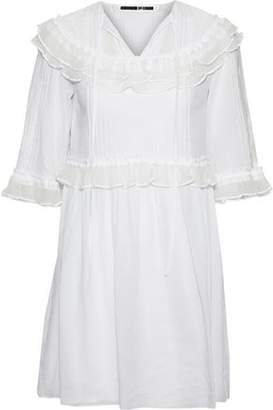 McQ Ruffled Point D'espirit-Paneled Cotton Mini Dress