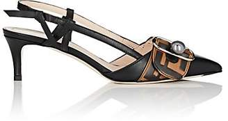 Fendi Women's Buckle-Strap Leather Slingback Pumps - Black