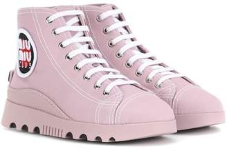 Miu Miu High-top canvas sneakers