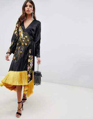 Asos Design DESIGN kimono midi dress with fringe in embroidered satin peacock
