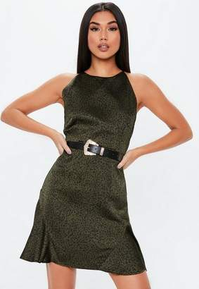 cb3957cf2934 Missguided Khaki Leopard Print Halter Neck Flippy Hem Dress