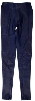 Balenciaga Leather Mid-Rise Skinny Pants