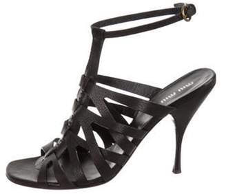 Miu Miu Leather Multi Strap Sandals Black Leather Multi Strap Sandals