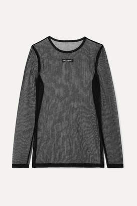 Dolce & Gabbana Embroidered Stretch-mesh Top - Black