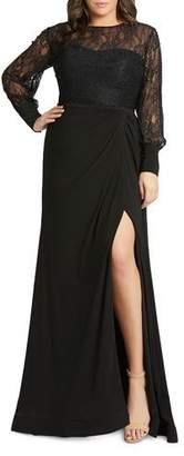 Mac Duggal Plus Size Lace Bodice & Jersey Long-Sleeve Wrap Gown w/ Slit