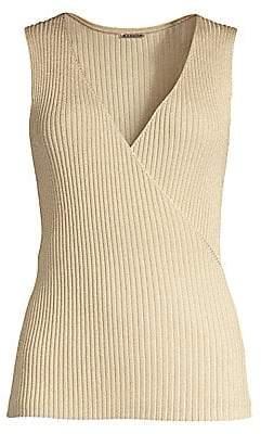 Elie Tahari Women's Rudie V-Neck Rib-Knit Sleeveless Sweater