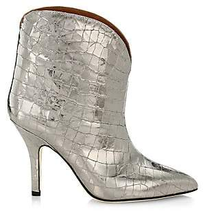 Paris Texas Women's Metallic Coconut Croc-Embossed Leather Ankle Boots