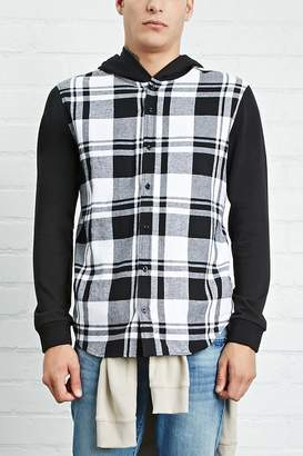 Forever 21 Hooded Plaid Flannel Shirt