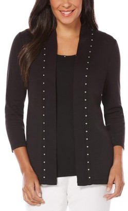 Rafaella Women's 3/4 Sleeve Embellished Cardigan