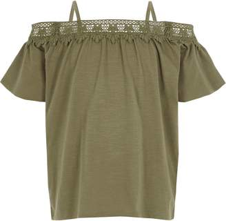 River Island Girls Khaki crochet lace bardot top