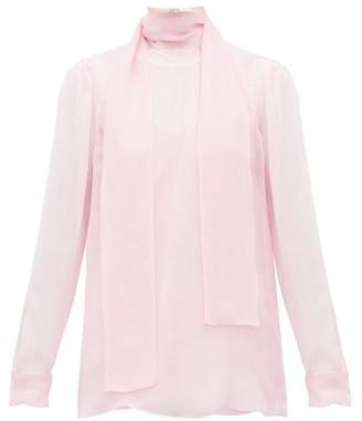 Valentino Tie Neck Sheer Chiffon Blouse - Womens - Light Pink
