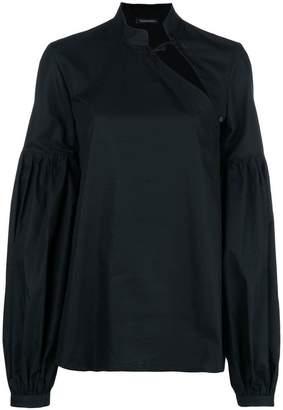 Wandering cut-detail long sleeve blouse