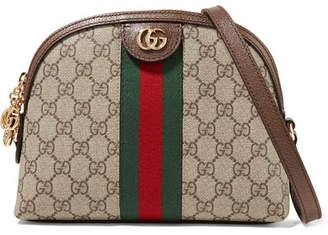 Gucci Ophidia Leather-trimmed Printed Coated-canvas Shoulder Bag - Brown