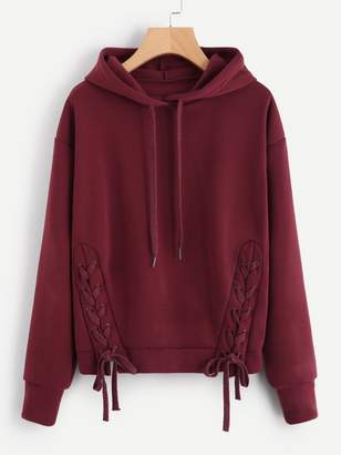 Shein Plus Lace Up Solid Hooded Sweatshirt