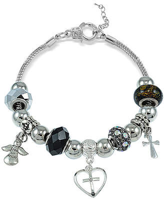 SPARKLE ALLURE Dazzling Designs Artisan Glass Bead Cross and Angel Bracelet