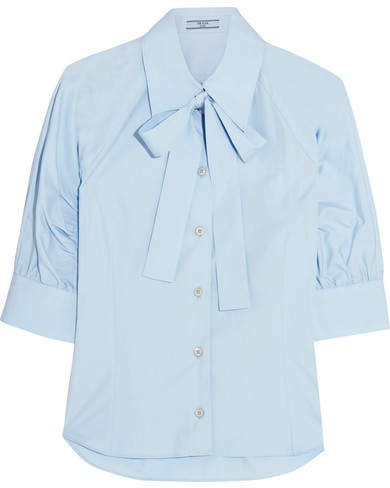 Prada - Pussy-bow Cotton-poplin Shirt - Sky blue
