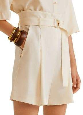 MANGO Pleated Soft Paper Bag Shorts