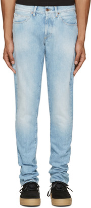 Off-White Blue Brushed Diagonals Jeans $420 thestylecure.com