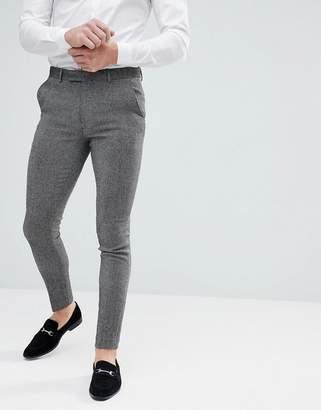 Asos Design DESIGN super skinny smart pants in dark grey wool mix