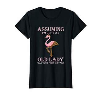 Womens Assuming I'm Just an Old Lady - Flamingo T Shirt