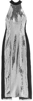 Galvan - Sequined Satin And Stretch-tulle Midi Dress - Silver