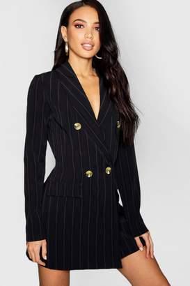 boohoo Tonal Stripe Horn Button Blazer Dress