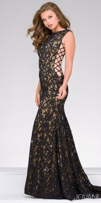 Jovani High Neck Lace Up Column Evening Dress $640 thestylecure.com
