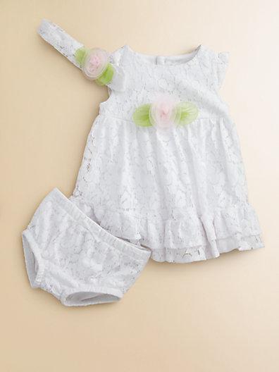 Hartstrings Infant's Lace Rosette Dress, Headband & Bloomers Set
