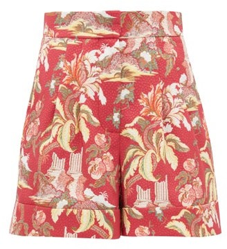 Peter Pilotto High Rise Floral Print Shorts - Womens - Red Multi