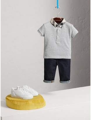 Burberry Check Collar Cotton Polo Shirt