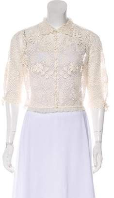 Ralph Lauren Embroidered Crochet Knit Shrug